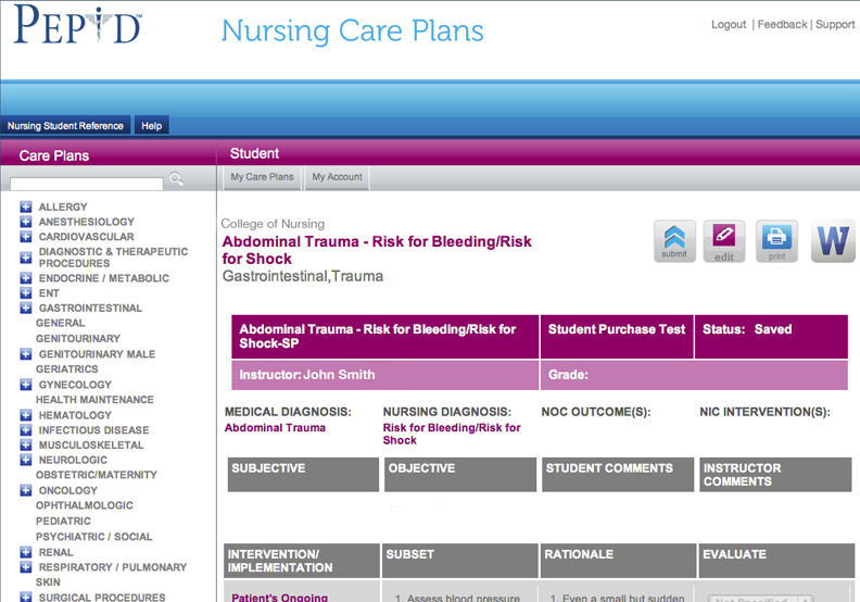 PEPID Nursing Care Plans
